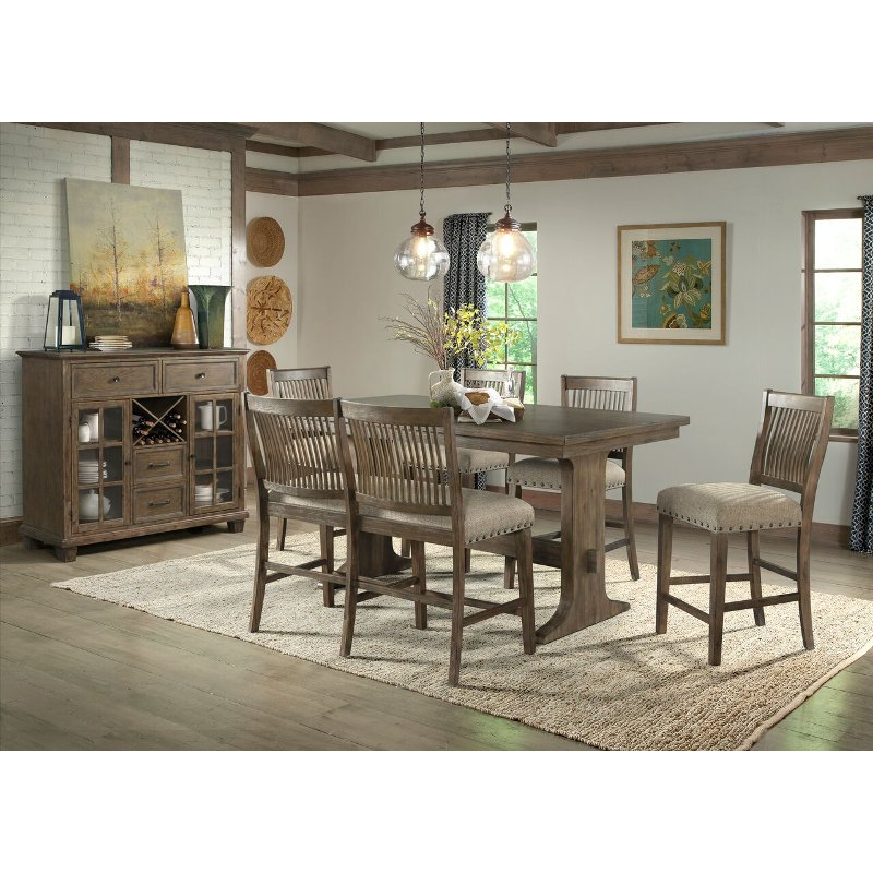 Oak 7 Piece Counter Height Dining Set