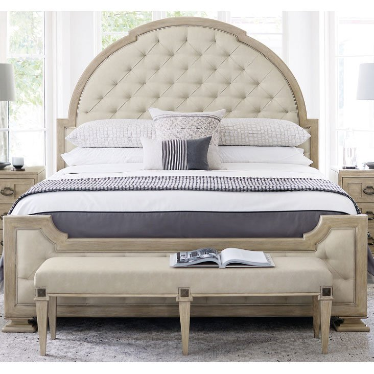 Traditional Sandstone Queen Upholstered Bed Santa Barbara Rc