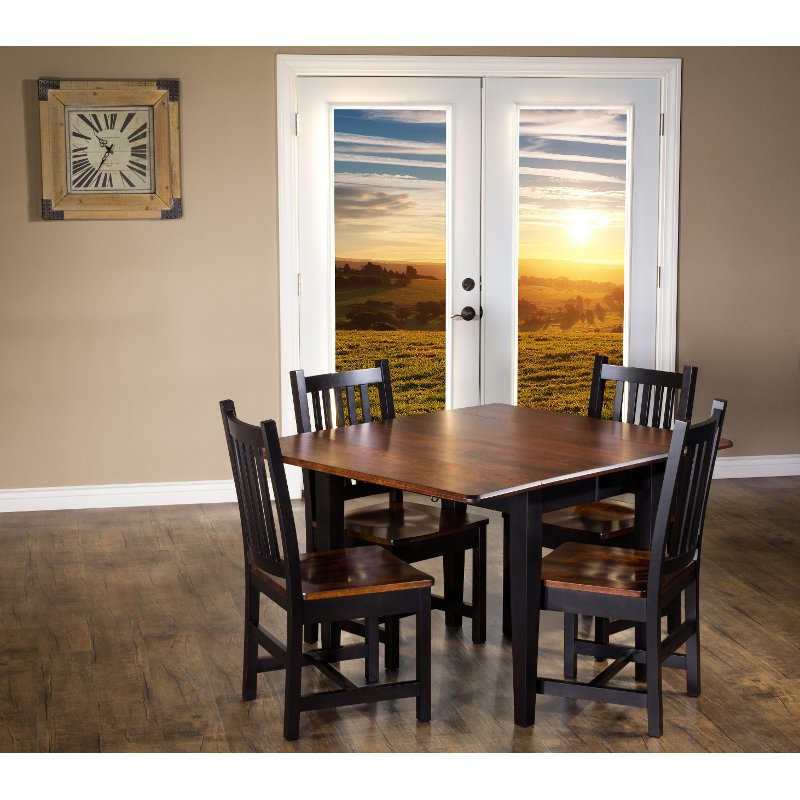 Maple And Black 5 Piece Dining Set With, Maple Wood Dining Room Furniture