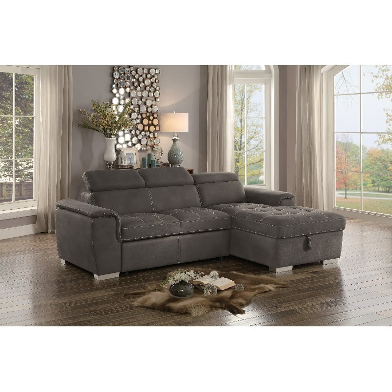 Taupe Sectional Sofa with Pullout Sofa Bed and Right-Side Storage ...