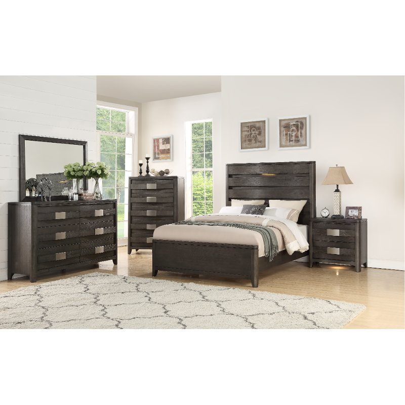 Contemporary Dark Gray 4 Piece King Bedroom Set - Contour ...