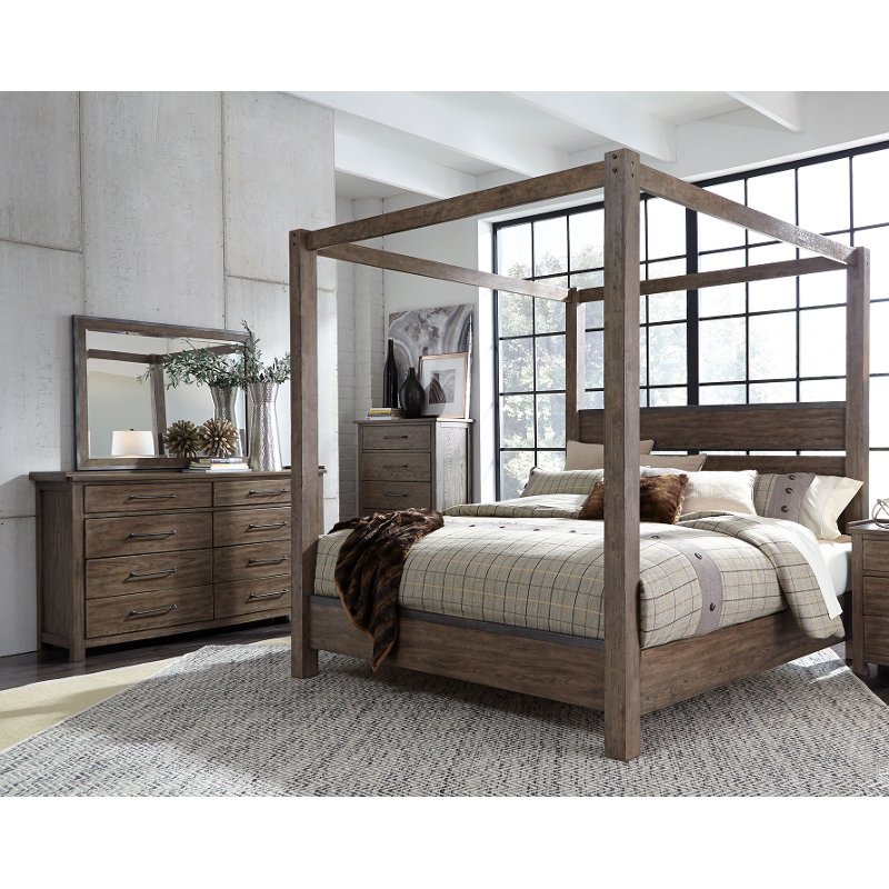 Modern Rustic Brown 3 Piece Queen Bedroom Set - Sonoma Road