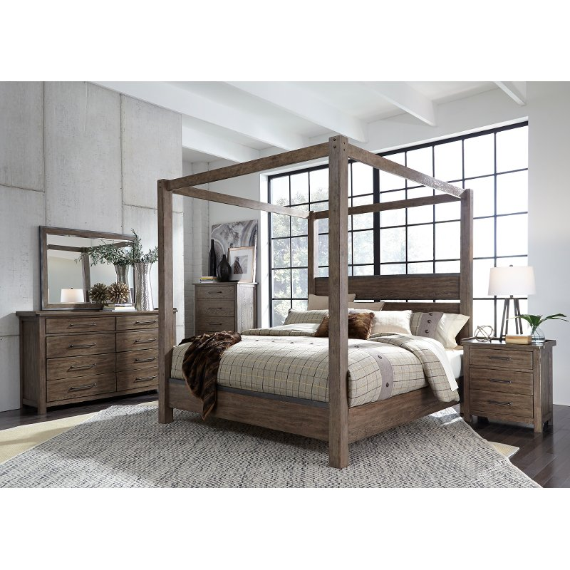 Modern Rustic Brown King Canopy Bed Sonoma Road Rc Willey