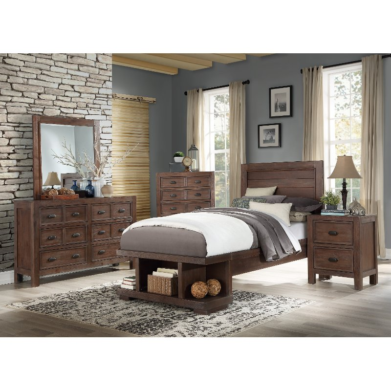 Contemporary Bedroom Furniture Stores: Contemporary Cherry 4 Piece Twin Bedroom Set