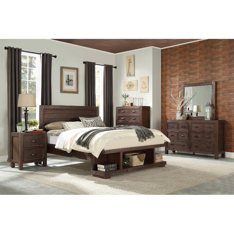 Contemporary Bedroom Furniture Stores: Contemporary Cherry 4 Piece Full Bedroom Set