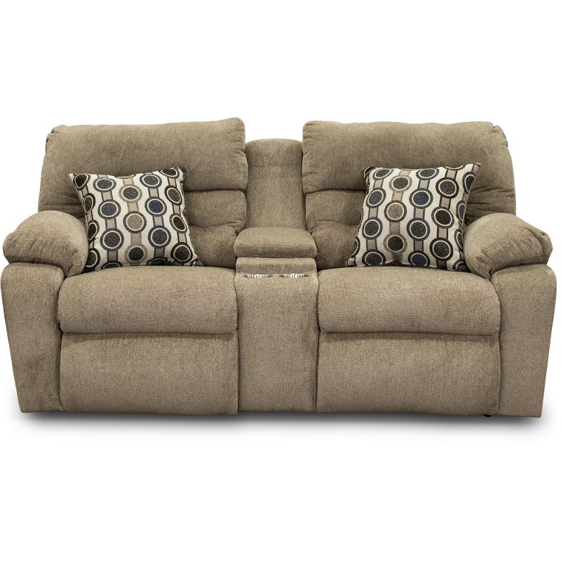 Stone Brown Power Reclining Loveseat With Console Tribute Rc