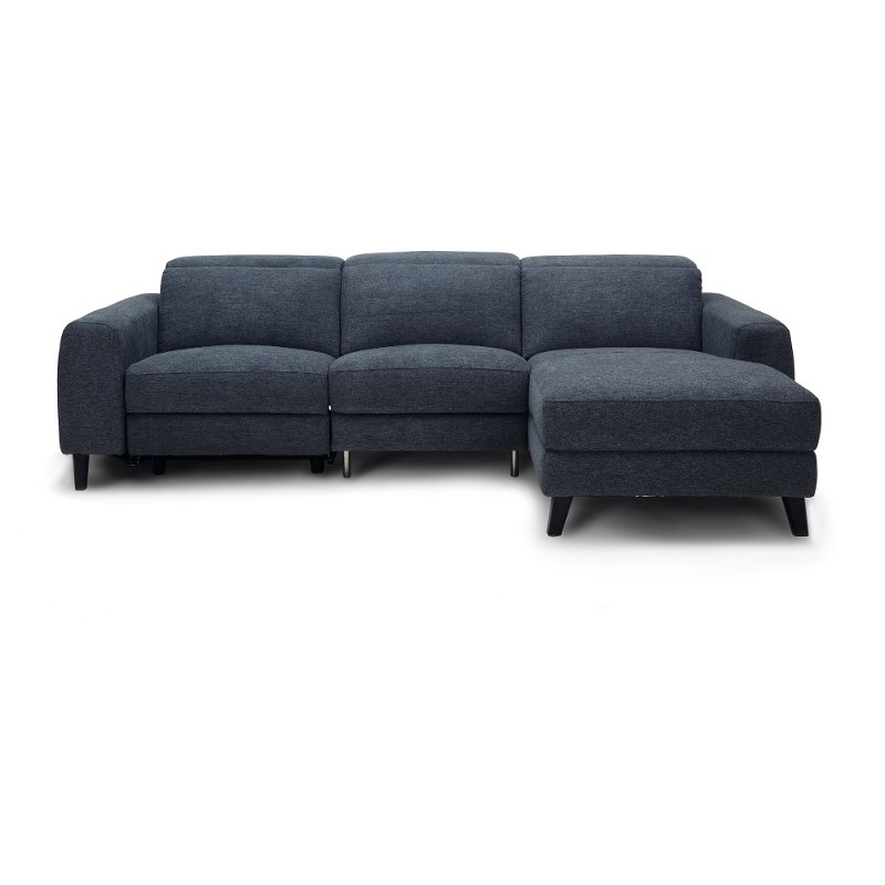 Navy Blue Transitional Reclining Sofa With Right Chaise Royals