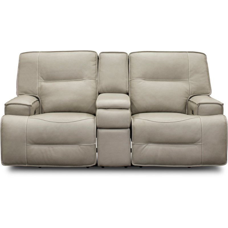 Incredible Dove Beige Leather Match Power Reclining Loveseat With Console Rockies Caraccident5 Cool Chair Designs And Ideas Caraccident5Info