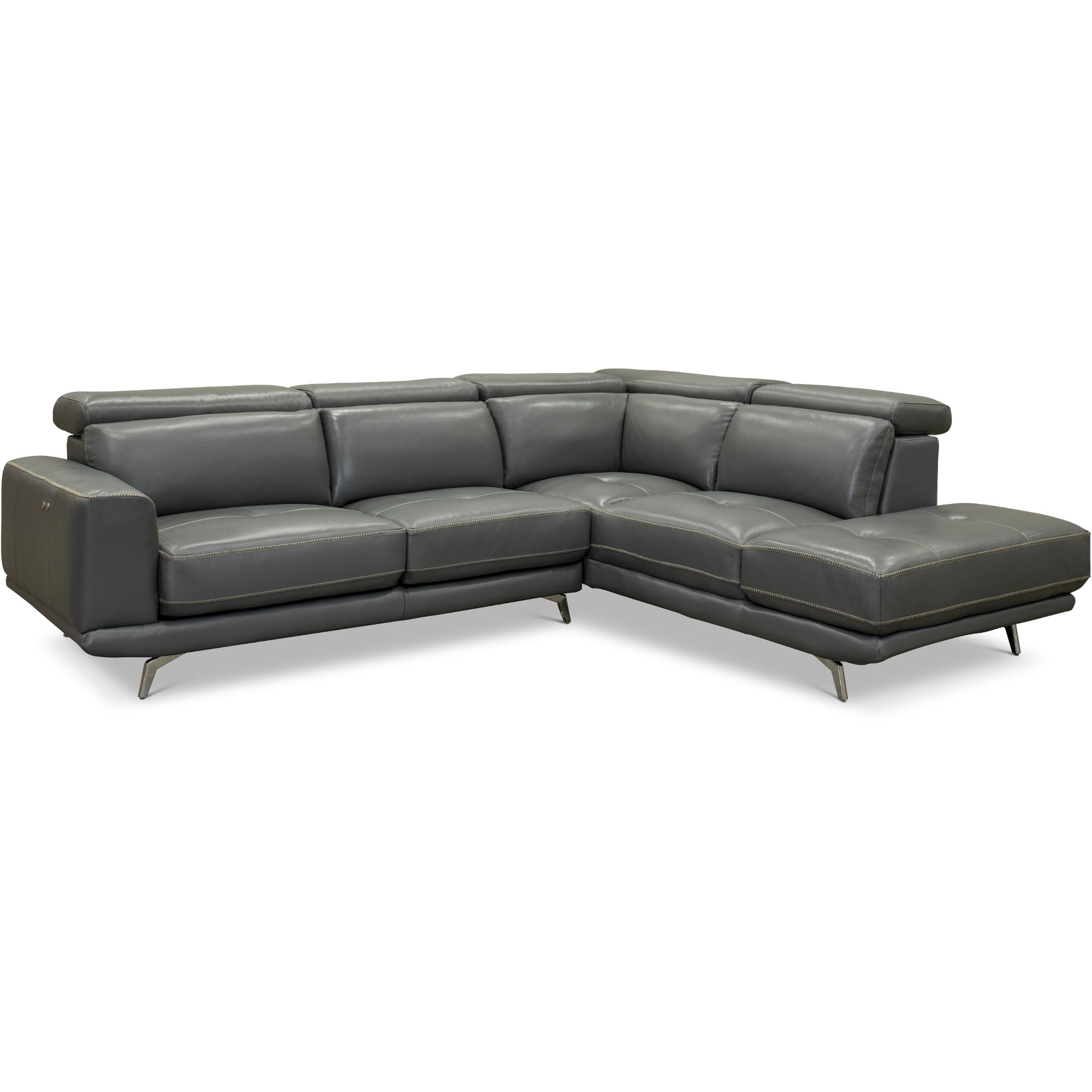 Dark Gray Leather-Match Power Reclining Sectional Sofa with Right Chaise -  Baron