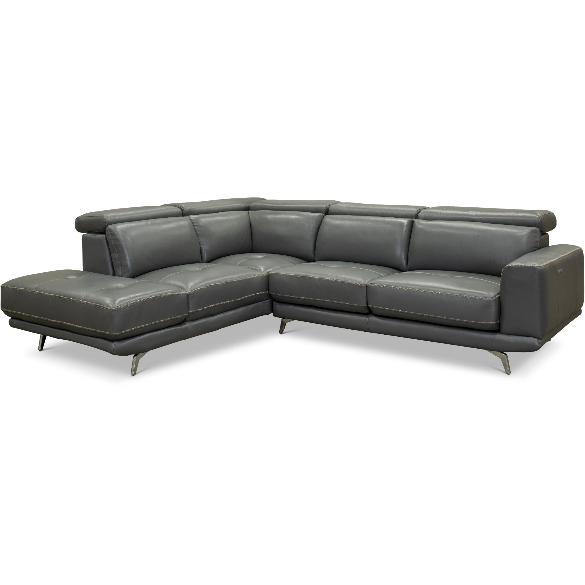 Dark Gray Leather-Match Power Reclining Sectional Sofa with Left Chaise -  Baron