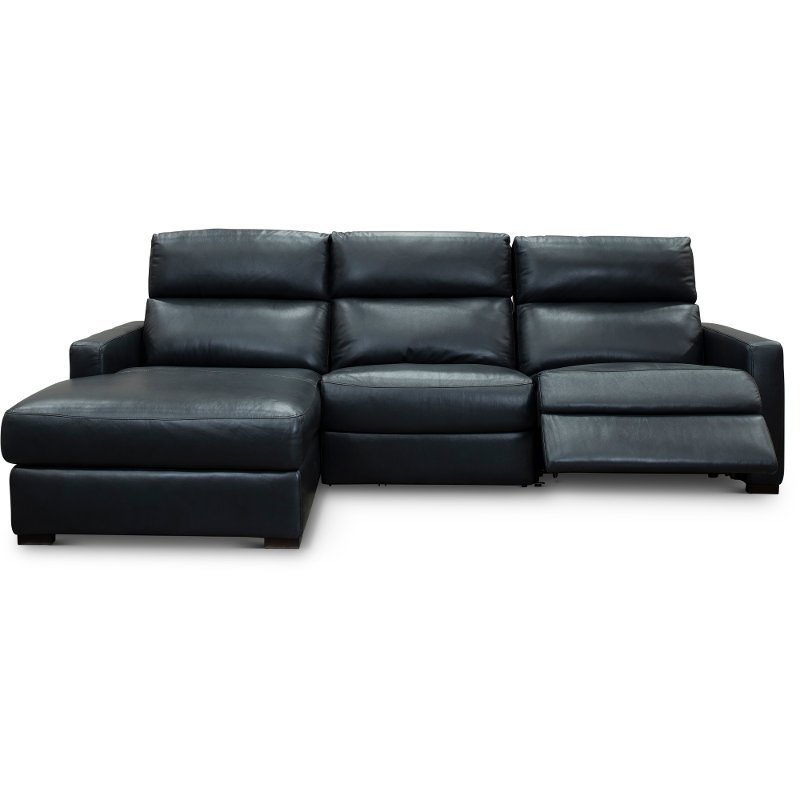 Blue Leather Match Power Reclining Sectional Sofa With Left Arm