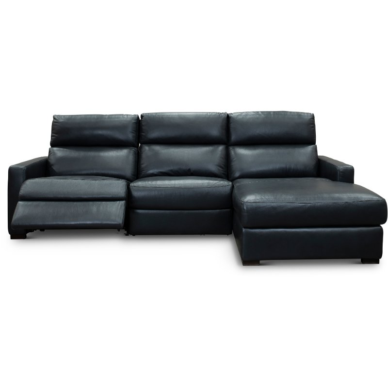 Blue Leather Match Power Reclining Sectional Sofa With Right Arm
