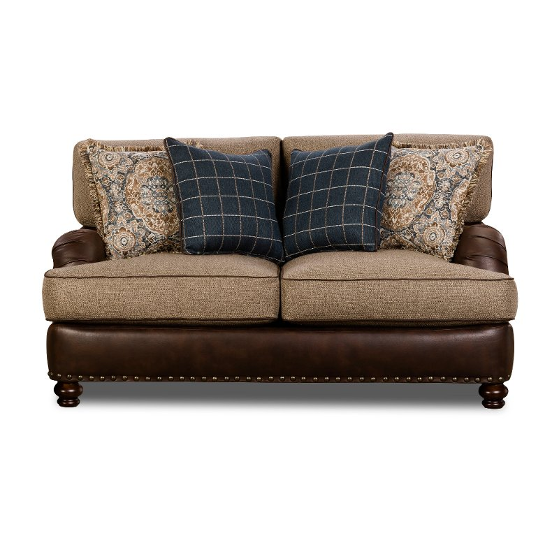 Traditional Two Tone Brown Loveseat