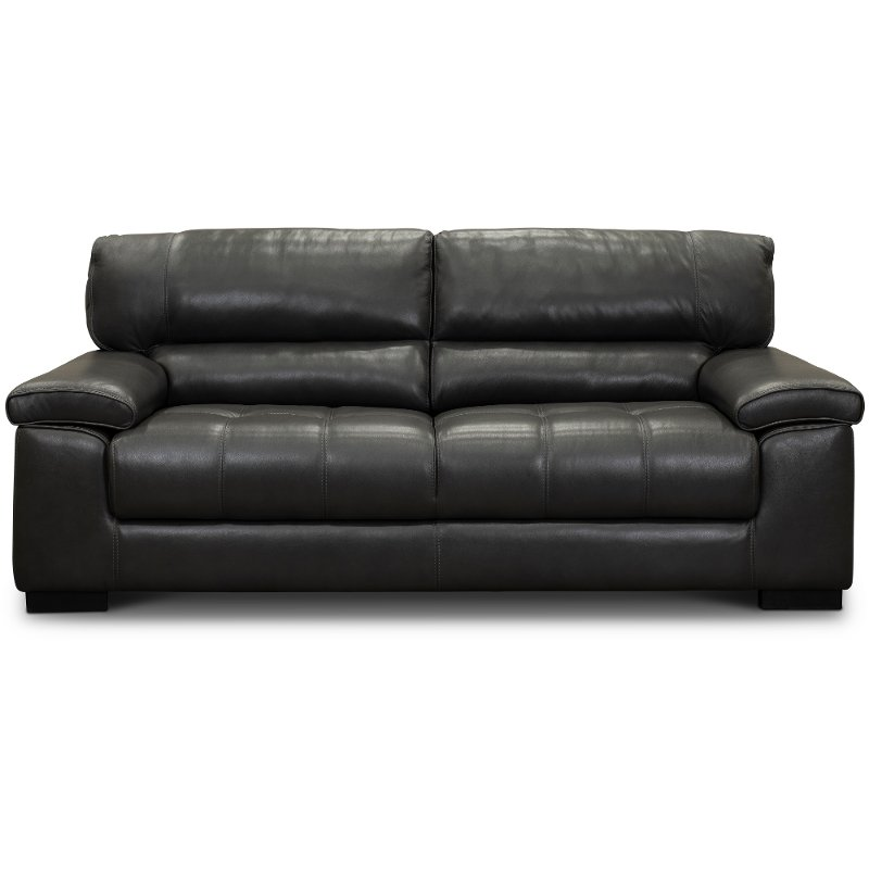 Contemporary Dark Gray Leather Sofa - Sienna