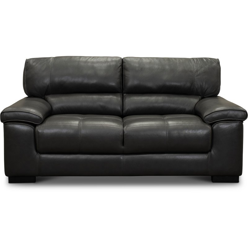 Stupendous Contemporary Dark Gray Leather Loveseat Sienna Alphanode Cool Chair Designs And Ideas Alphanodeonline
