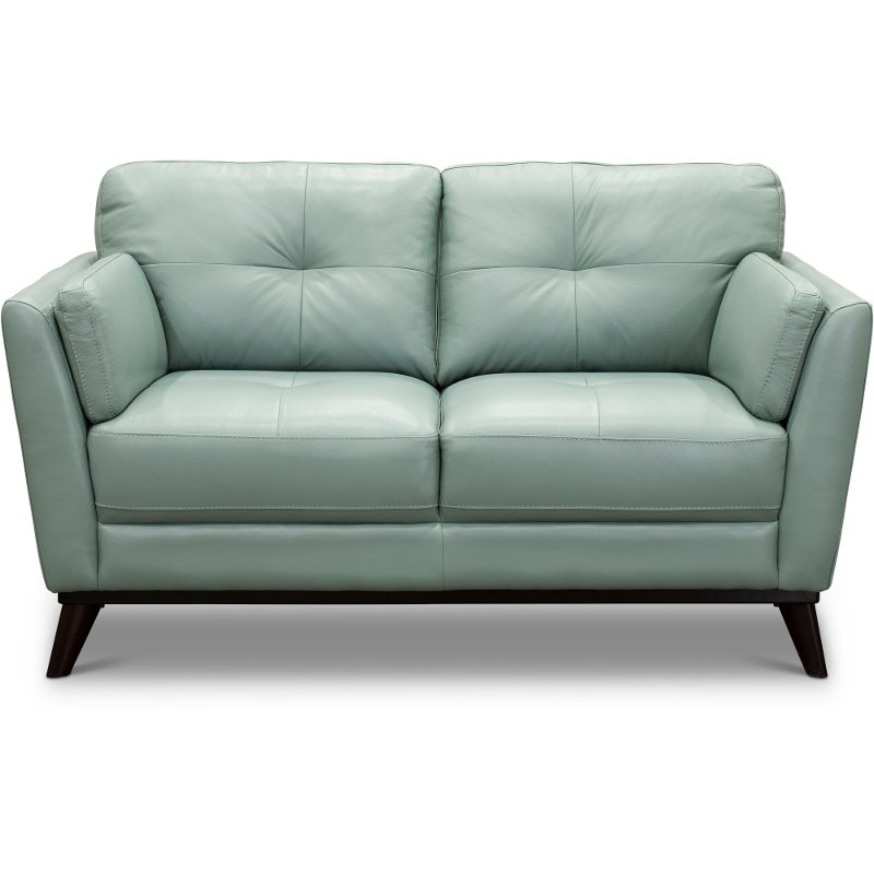 Modern Seafoam Green Leather Loveseat - Warsaw