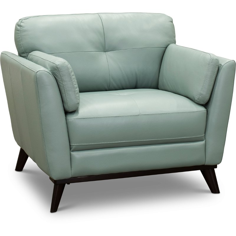 Modern Seafoam Green Leather Chair - Warsaw