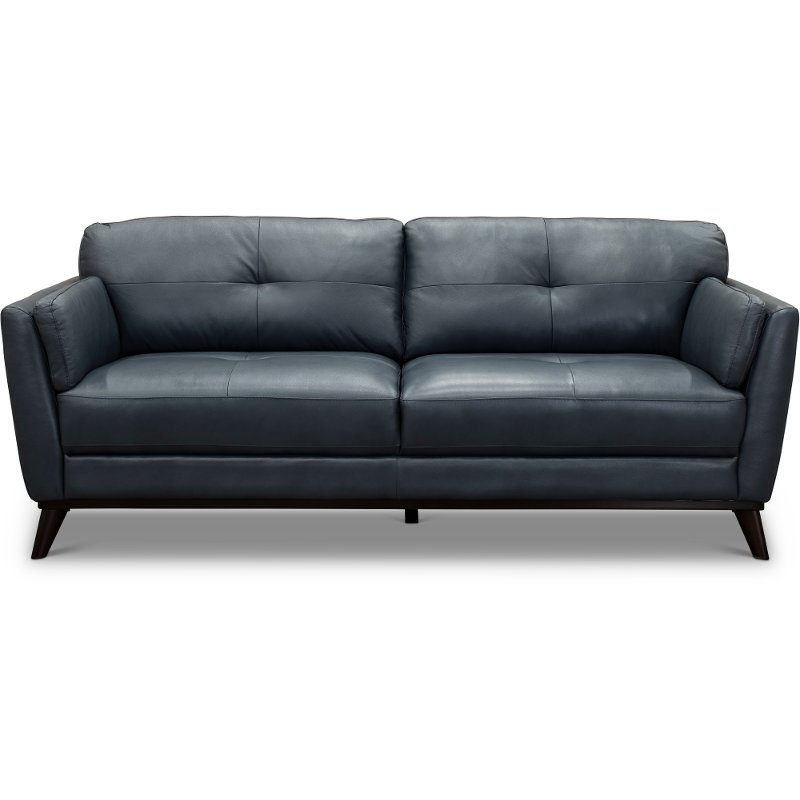 Modern Dark Blue Leather Sofa - Warsaw