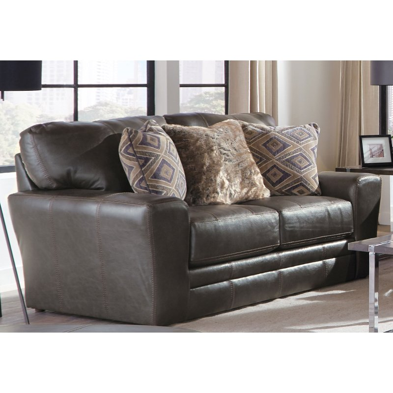 Classic Steel Gray Leather Loveseat Denali Rc Willey Furniture Store