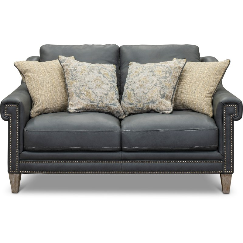 Classic Modern Sky Blue Leather Loveseat - Luxe