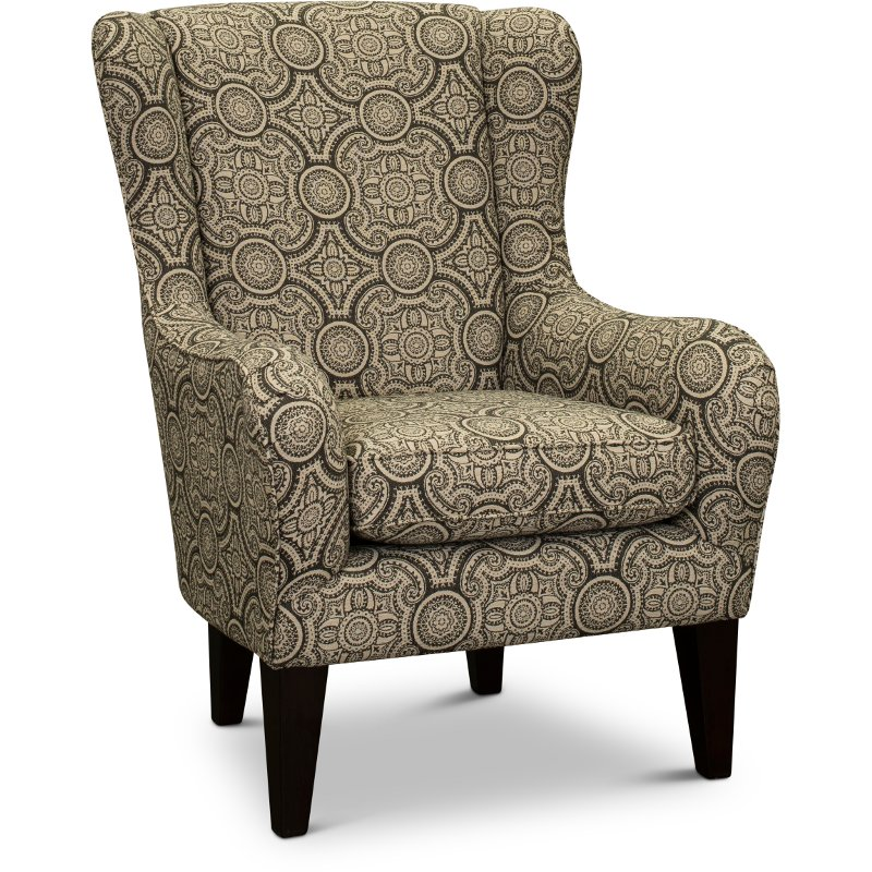 Wondrous Blue Ink Wingback Accent Chair Lorette Bralicious Painted Fabric Chair Ideas Braliciousco
