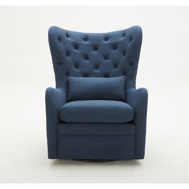 Fabulous Navy Wingback Swivel Chair With Kidney Pillow Alice Unemploymentrelief Wooden Chair Designs For Living Room Unemploymentrelieforg