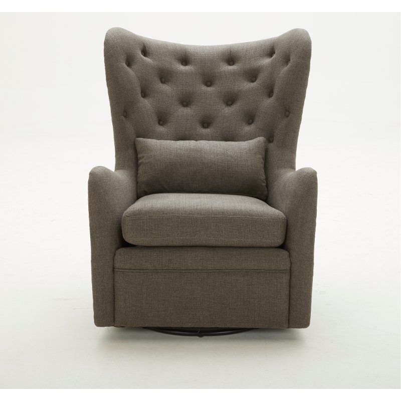 Wondrous Charcoal Wingback Swivel Chair With Kidney Pillow Alice Cjindustries Chair Design For Home Cjindustriesco