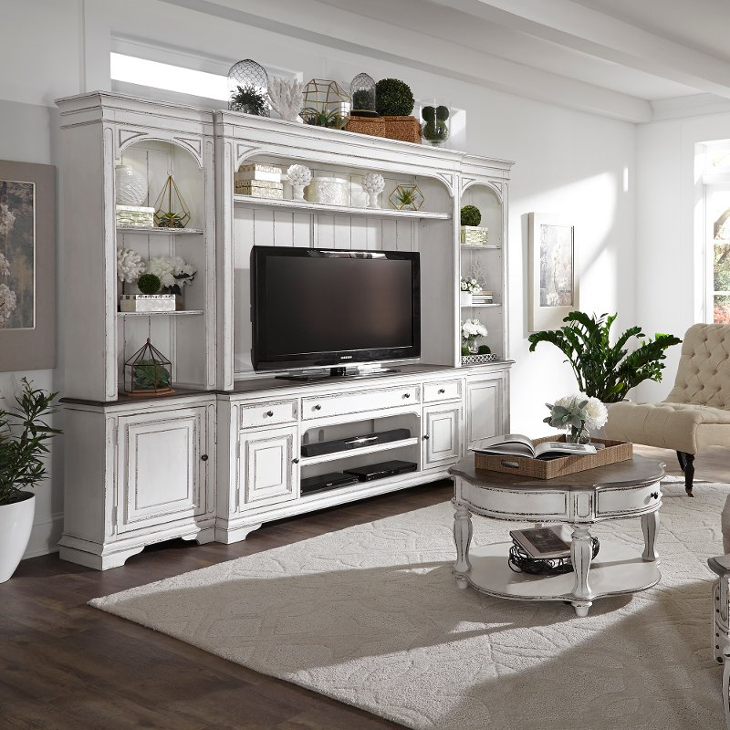 Antique White 4 Piece Entertainment Center - Magnolia Manor