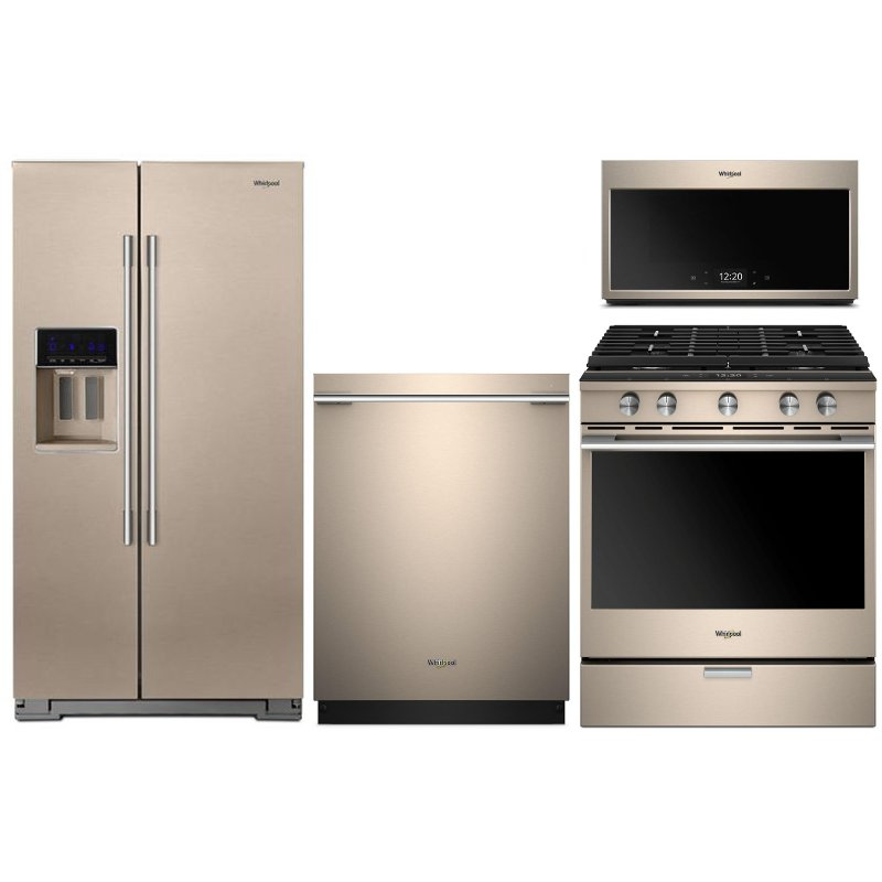 Whirlpool 4 Piece Kitchen Appliance Package With Gas Range Sunset Bronze