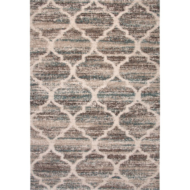 8 X 11 Large Brown Beige Ivory And Teal Area Rug Granada