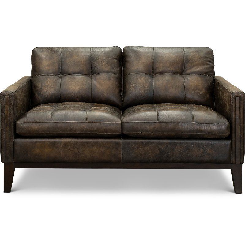 Remarkable Contemporary Antique Brown Leather Loveseat Montana Gmtry Best Dining Table And Chair Ideas Images Gmtryco