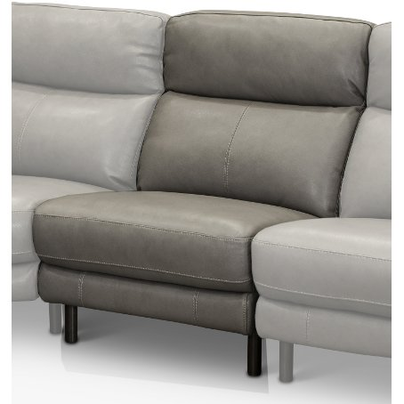 Elephant Gray Leather Match Armless Chair   Venice