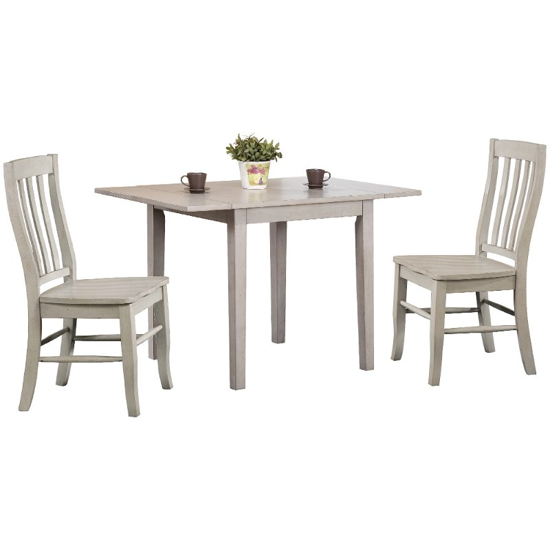 Light Gray Wood 3 Piece Dining Set With Rake Back Chairs Carmel Rc Willey Furniture Store