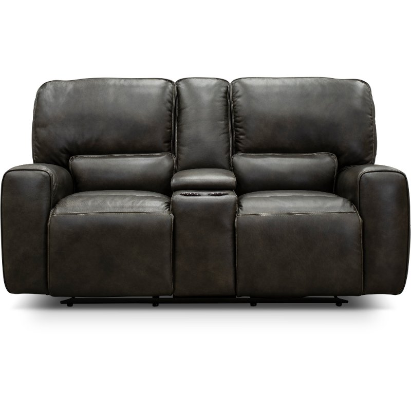 Charcoal Gray Leather Match Power Reclining Loveseat With Console