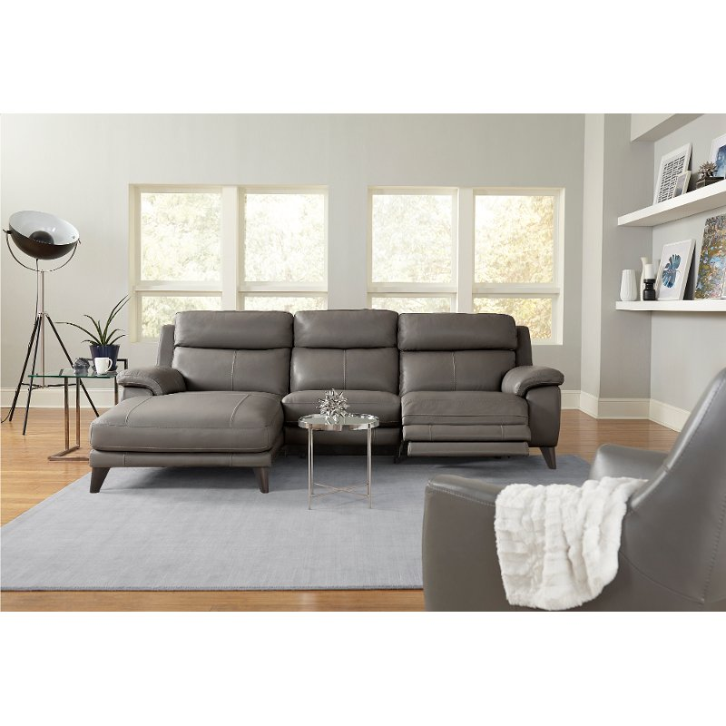 Elephant Gray Leather-Match Power Reclining Sofa with Left-arm Facing  Chaise - Venice