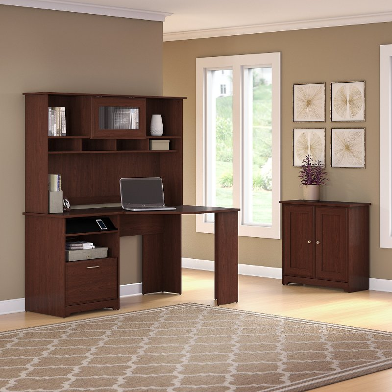 Harvest Cherry Corner Desk With Hutch And Small Storage Cabinet With