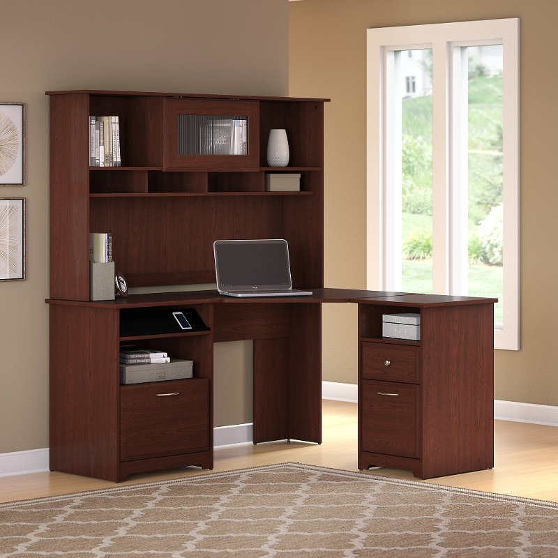 half off 1f158 32397 Harvest Cherry Corner Desk with Hutch and 2 Drawer File Cabinet - Cabot