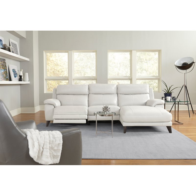 Frost White Leather-Match Power Reclining Sofa with Right-arm Facing Chaise  - Venice