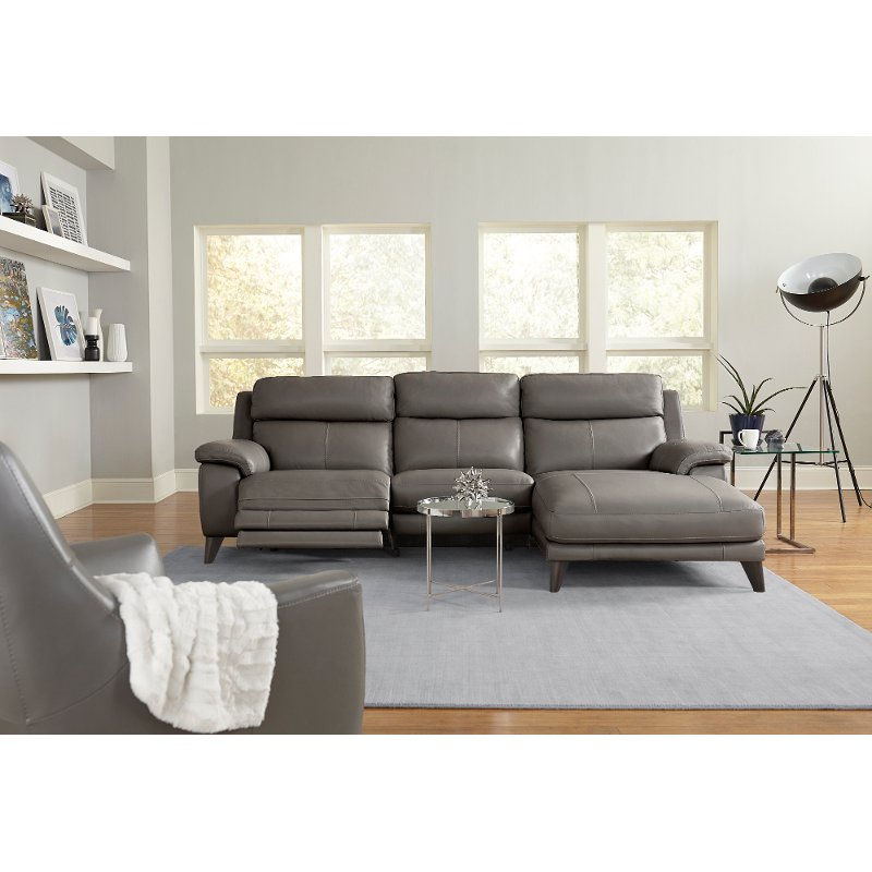 Elephant Gray Leather-Match Power Reclining Sofa with Right-arm ...