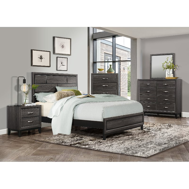 Contemporary Bedroom Furniture Stores: Modern Farmhouse Gray 4 Piece King Bedroom Set
