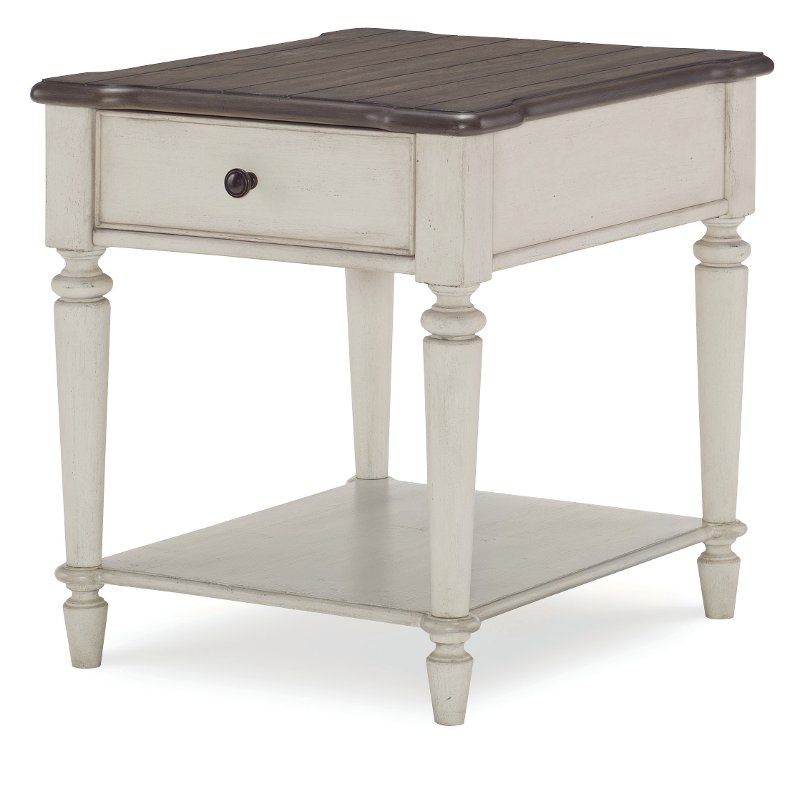 Incroyable Vintage Brown And White End Table   Brookhaven