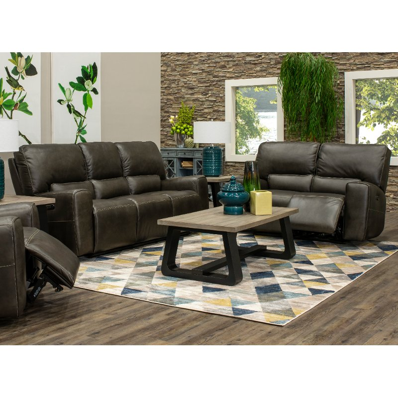 Charcoal Gray Power Reclining Living Room Set Madrid Rc Willey