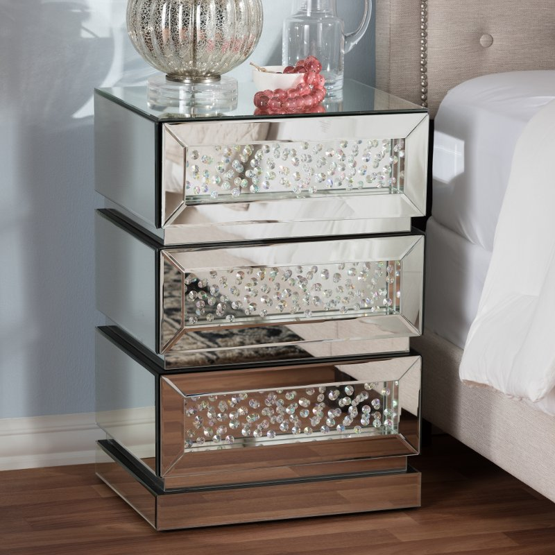 Hollywood Regency Glamour Mirrored 3 Drawer Nightstand   Sabrina | RC  Willey Furniture Store