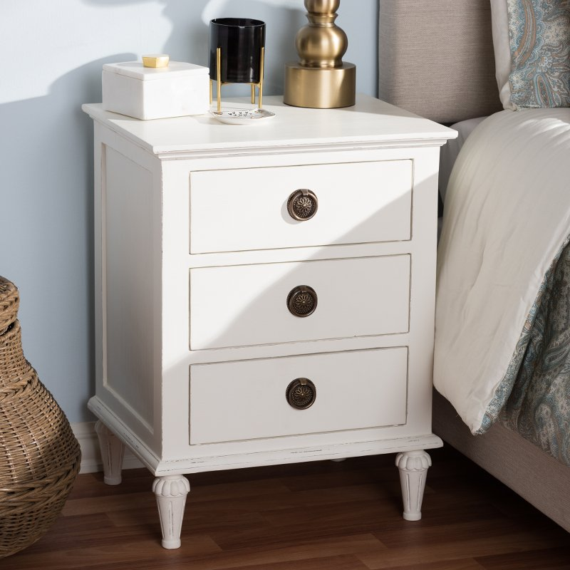 Shabby Chic Rustic White Nightstand Venezia Rc Willey Furniture