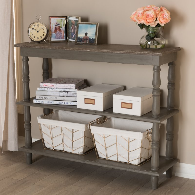 Country Cottage Farmhouse Weathered Brown Console Table Nellie - Country cottage console table