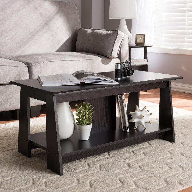 Modern And Contemporary Wenge Brown Coffee Table   Fionan | RC Willey  Furniture Store