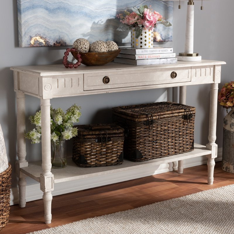 Country Cottage Whitewashed 1 Drawer Console Table   Ariella | RC Willey  Furniture Store