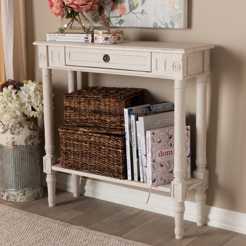 Exceptionnel Country Cottage Whitewashed 1 Drawer Console Table   Ariella | RC Willey  Furniture Store