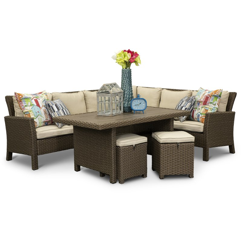 Wicker 3 Piece Patio Set Arcadia Rc, For Living 3 Piece Wicker Patio Sectional Set With Cushions