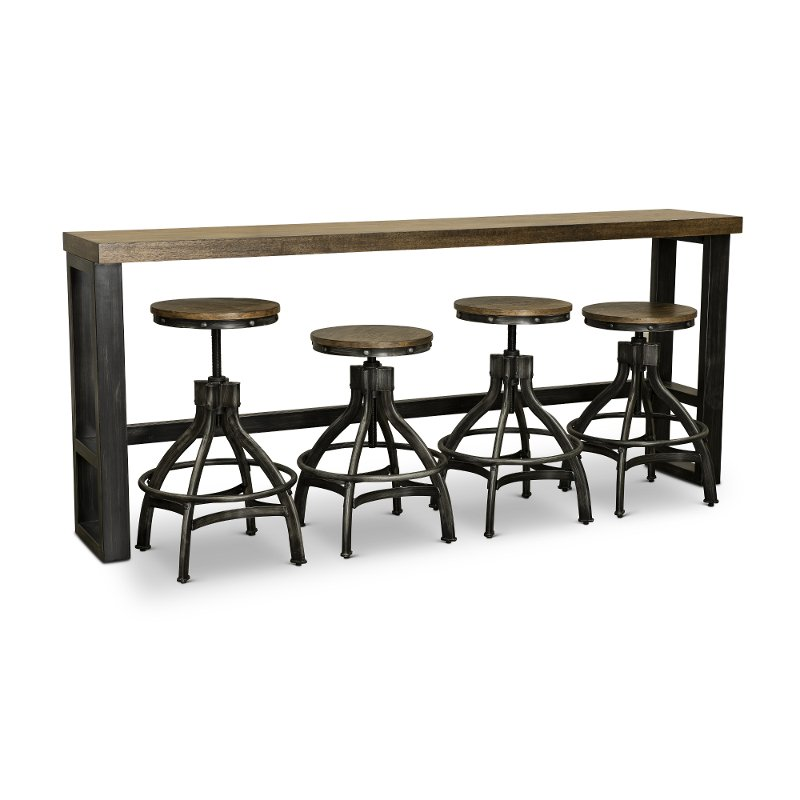 Rustic Brown Sofa Bar Table And 4